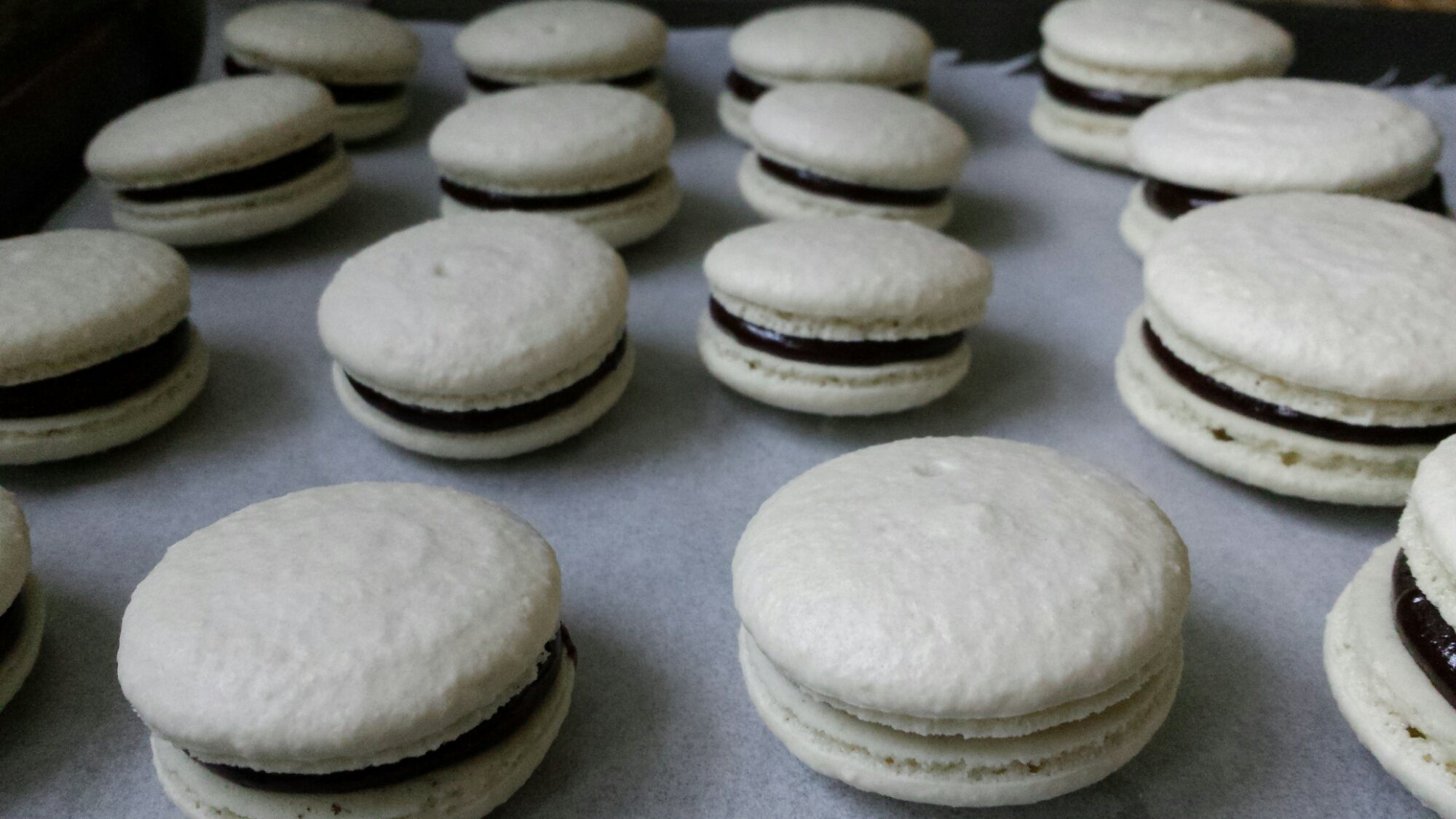 Vanilla Macaron with Chocolate Whiskey Ganache
