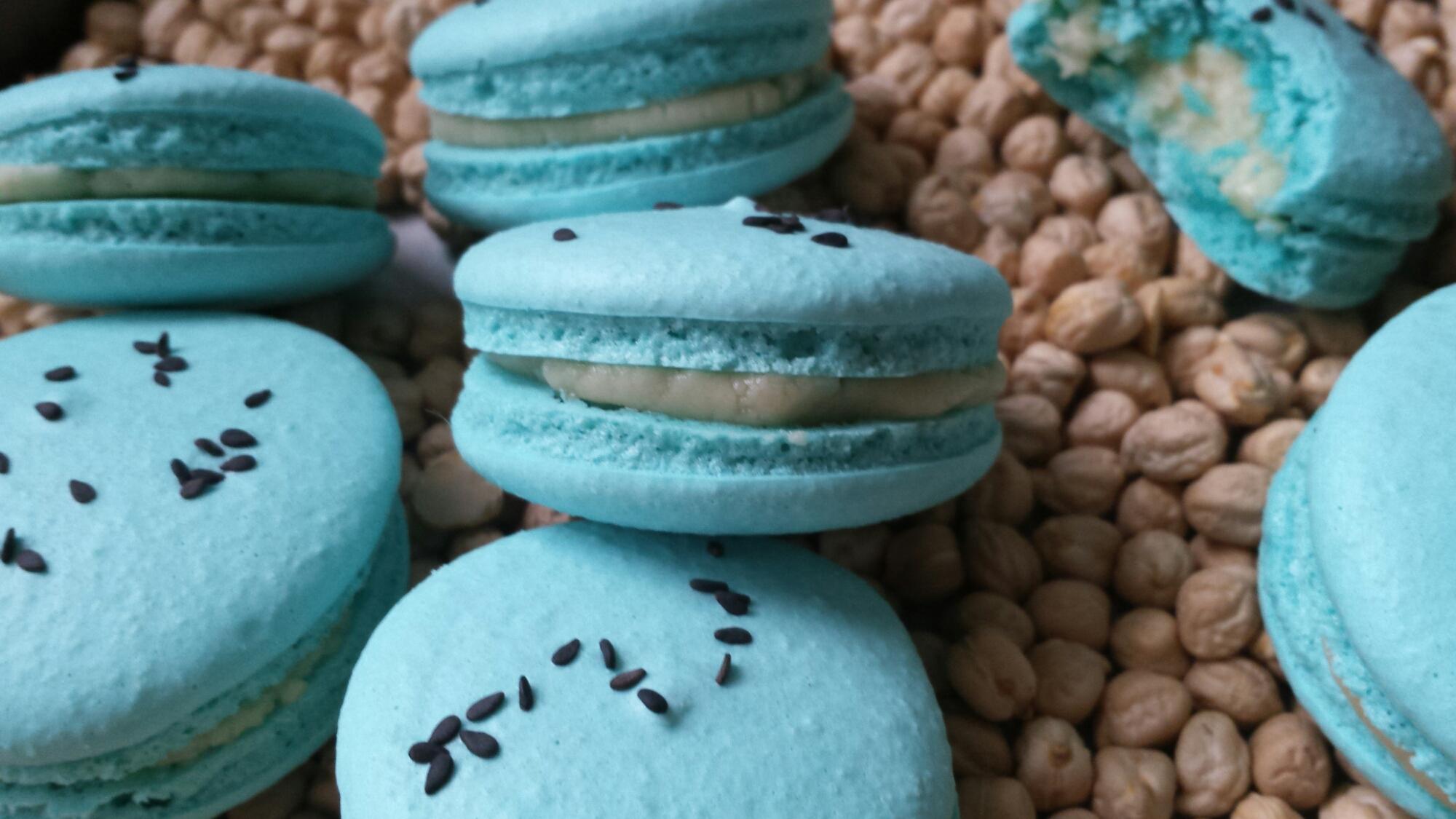 Blue Tahini Macarons