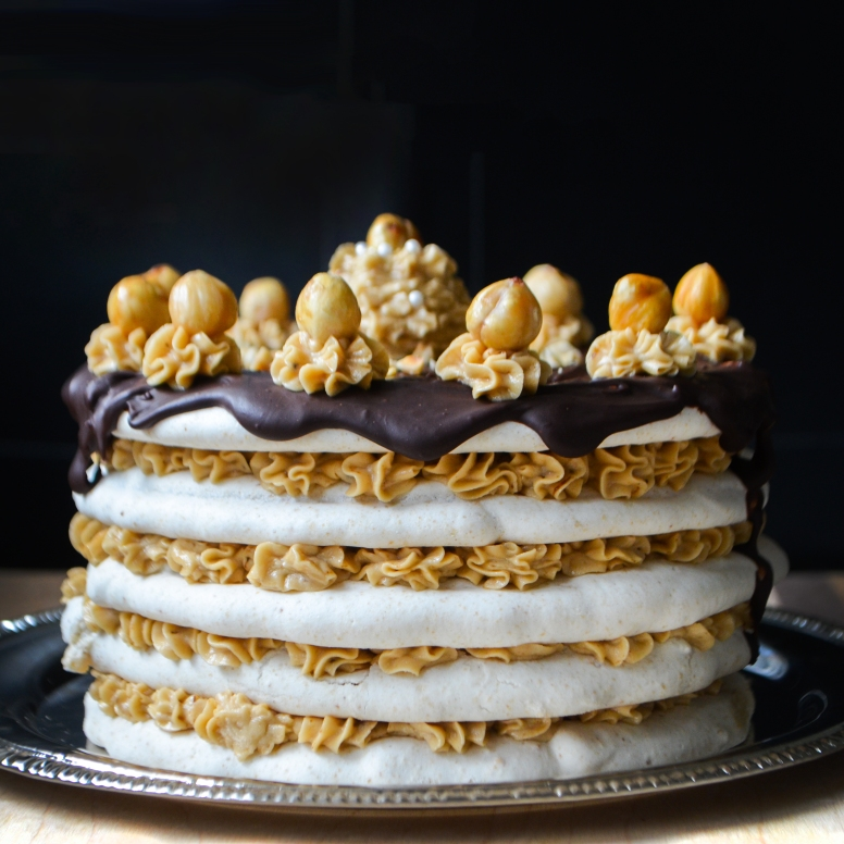 Hazelnut Almond Dacquoise with Espresso Buttercream and Chocolate Ganache