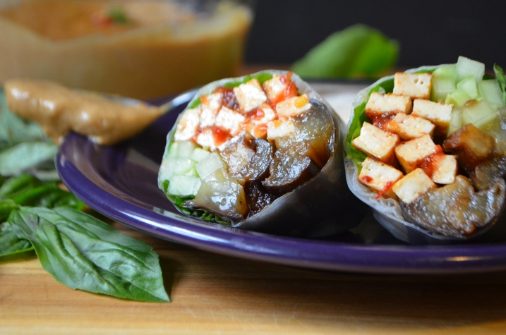 Eggplant and Spicy Tofu Spring Rolls